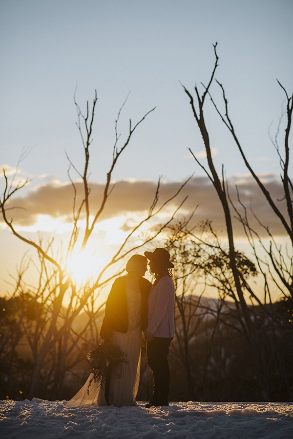 Sunset wedding vows at the eco-village